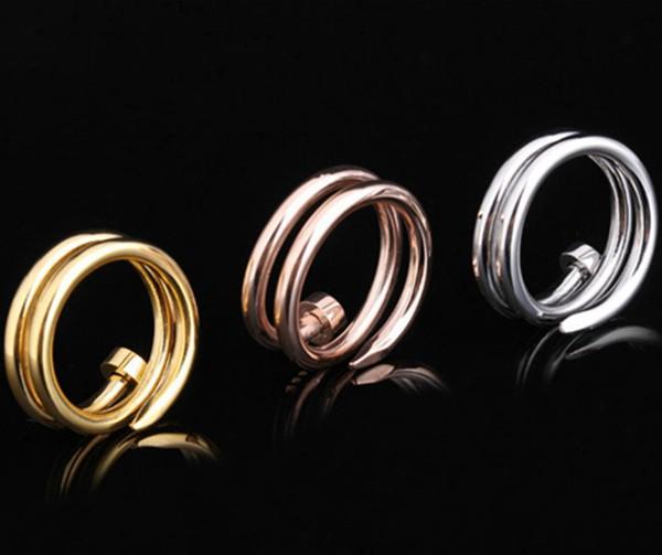 雙層釘子戒指 玫瑰金 金色 白鋼色_0