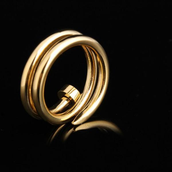 雙層釘子戒指 玫瑰金 金色 白鋼色_2