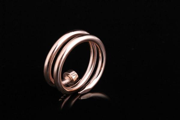 雙層釘子戒指 玫瑰金 金色 白鋼色_1