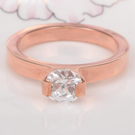 韓版單鑽超閃食指戒指結婚鑽戒 玫瑰金戒指_2