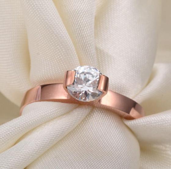 韓版單鑽超閃食指戒指結婚鑽戒 玫瑰金戒指_1