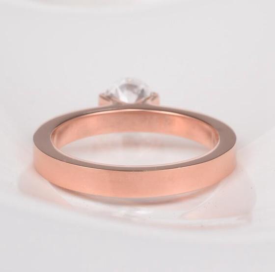 韓版單鑽超閃食指戒指結婚鑽戒 玫瑰金戒指_4