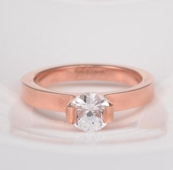 韓版單鑽超閃食指戒指結婚鑽戒 玫瑰金戒指_3