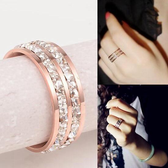 鈦鋼飾品 雙排碎鑽 情侶對戒指 玫瑰金_0