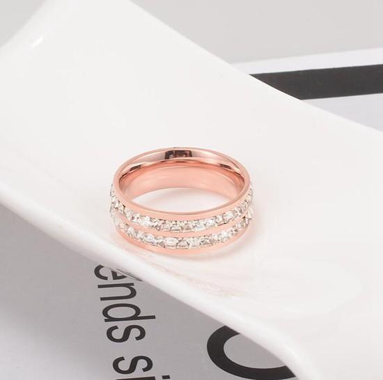 鈦鋼飾品 雙排碎鑽 情侶對戒指 玫瑰金_1