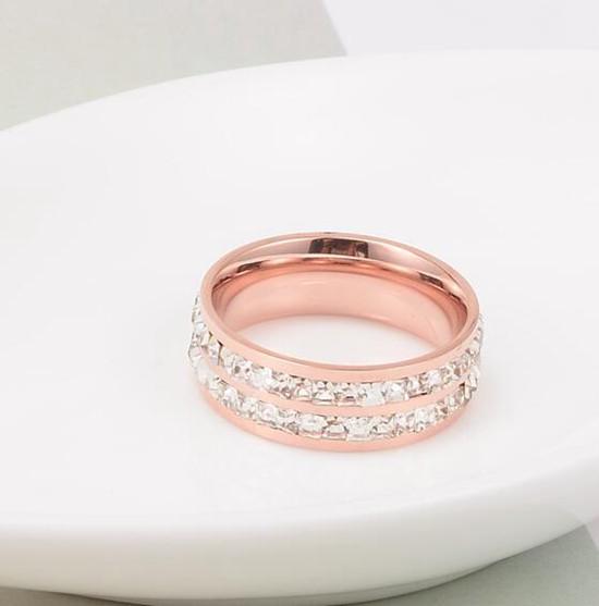 鈦鋼飾品 雙排碎鑽 情侶對戒指 玫瑰金_3