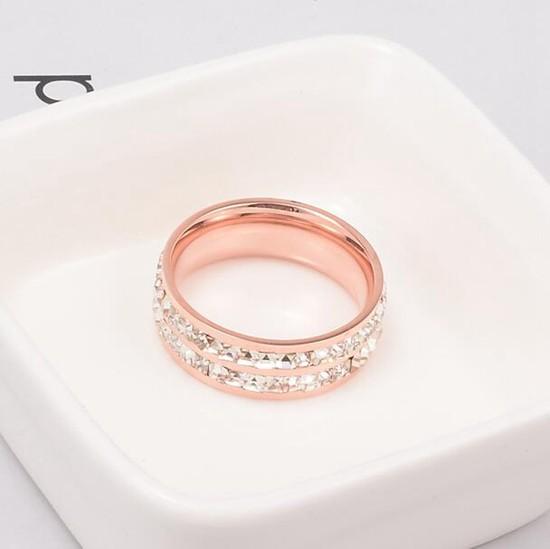 鈦鋼飾品 雙排碎鑽 情侶對戒指 玫瑰金_2