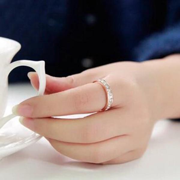 韓版18K玫瑰金滿鑽鈦鋼戒指_3