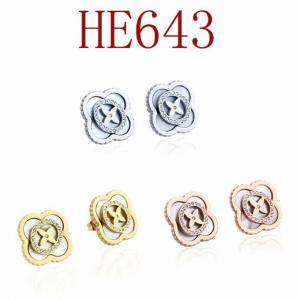 LV 新款 經典四葉鑲鑽耳環 耳釘HE643mx