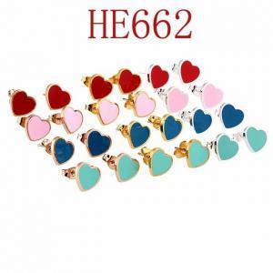 蒂家 新款心形滴油耳環HE662