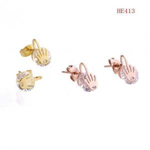 勞力士 皇冠夾鑽耳釘 耳環HE413