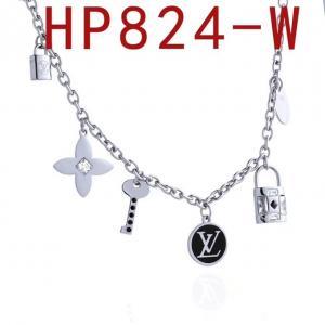 LV 新款logo字母鎖頭鑲鑽項鍊HP824