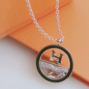 愛瑪仕 圓形 H字母 鑽石項鍊 玫瑰金