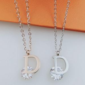 鈦鋼飾品 D字母夾鑽項鍊