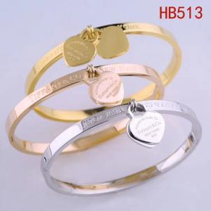 蒂家 雙愛心英文字母logo手環HB513