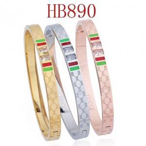 古奇 雙G 綠紅 方鑽手環HB890