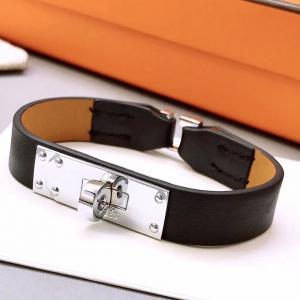 愛瑪仕 平紋經典單雙圈皮手環 銀色32066 gs