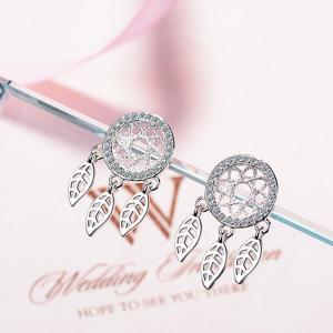 韓版甜美鑲鑽捕夢網耳釘短款耳墜氣質耳飾品耳環 不配包裝