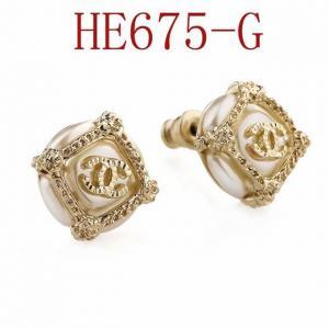 香家 雙C夾珍珠 耳環 耳釘HE675