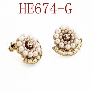 香家 新款黃銅材質 大小珍珠雙C耳環 耳釘HE674
