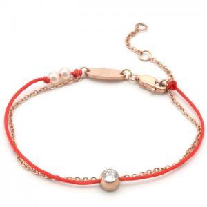 百搭情侶鈦鋼轉運 雙白色珍珠全繩全鍊鈦鋼紅繩手鍊