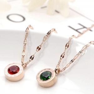 羅馬數字鈦鋼項鍊綠鑽項鍊女個性鎖骨鍊