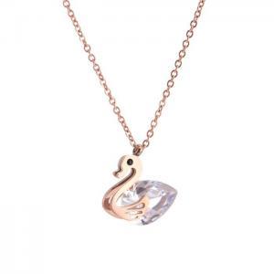 鈦鋼天鵝夾大鑽項鍊 簡約長款鎖骨鍊18K玫瑰金