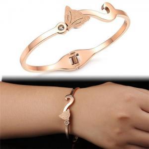狐狸壓砂玫瑰金手鐲 18K玫瑰金手鍊手環