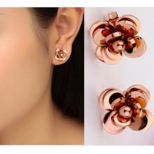 18K玫瑰金彩金山茶花 女韓版款鈦鋼耳環