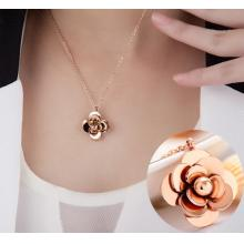 18K玫瑰金山茶花項鏈女款短飾品鎖骨鏈
