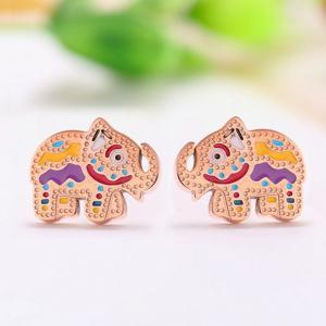 彩色小象耳釘 韓國彩金鈦鋼大象耳環