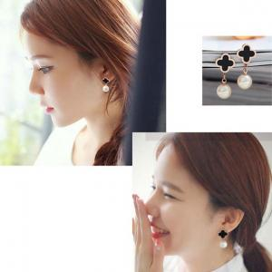 日韓版鈦鋼飾品 四葉草珍珠耳釘耳環