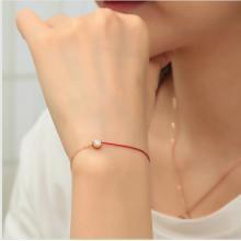 紅繩手鍊 單鑽百搭 鈦鋼鍍彩金飾品