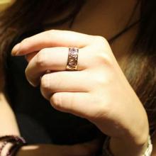 韓劇想你尹恩惠同款 山茶花鏤空 鈦鋼玫瑰金戒指