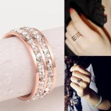鈦鋼飾品 雙排碎鑽 情侶對戒指 玫瑰金