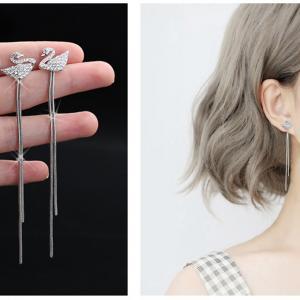 韓版爆款 明星同款 氣質天鵝鑲嵌鋯石后掛式耳環