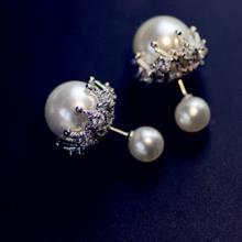 明星同款 大小珍珠蕾絲耳環