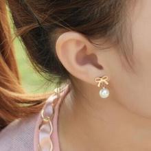 鈦鋼鍍14K耳釘 蝴蝶珍珠鈦鋼玫瑰金耳環