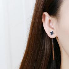 韓國鈦鋼幸運草流蘇耳釘 防過敏不掉色玫瑰金耳環