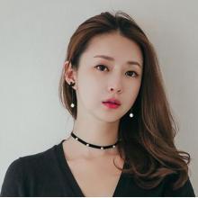 黑色天鵝耳釘鈦鋼玫瑰金網紅耳環韓國 氣質長款珍珠鈦鋼耳環