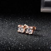 日韓版鍍18K玫瑰金鈦鋼四爪耳釘女 氣質韓國簡約耳環
