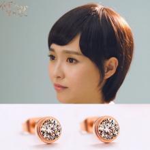 單鑽耳環鍍18K玫瑰金女耳環鈦鋼飾品