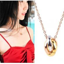 三色三環情侶項鏈吊墜日韓版鈦鋼鍍金飾品