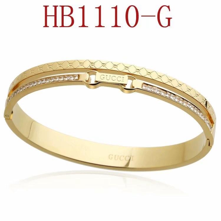 古奇 雙G方鑽手鐲HB1110_7