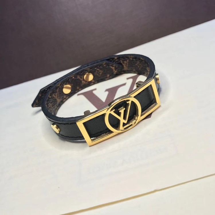 LV 新款單圈logo皮手環yy_2
