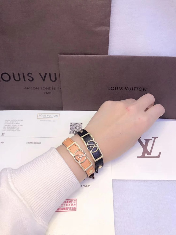 LV 新款單圈logo皮手環yy_4