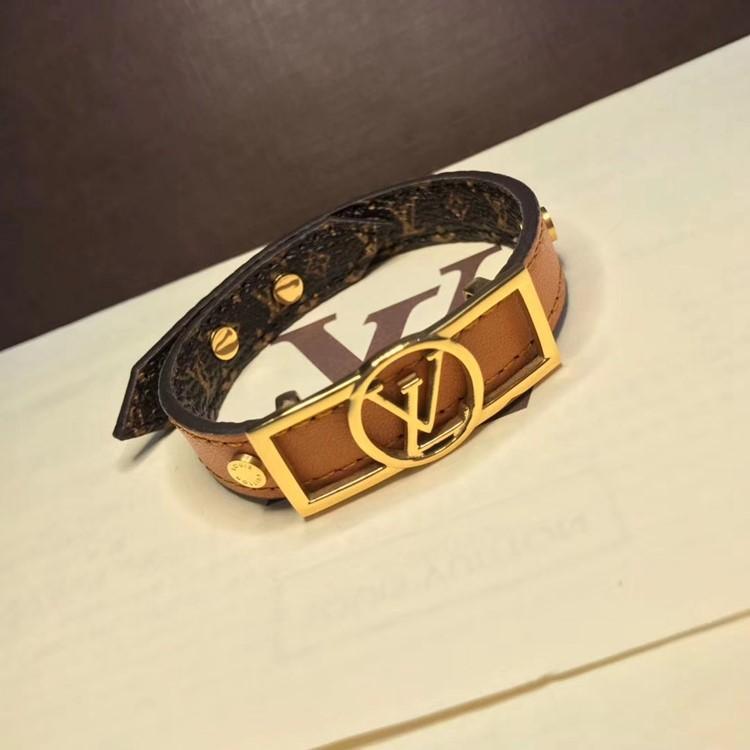 LV 新款單圈logo皮手環yy_3