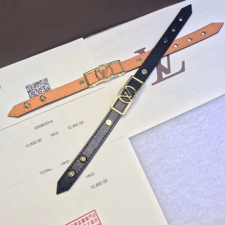 LV 新款單圈logo皮手環yy_7