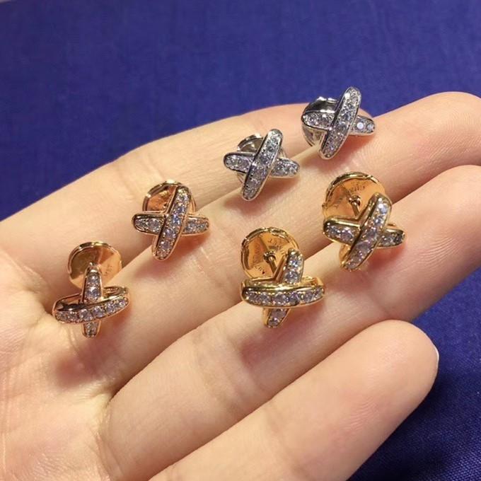 純銀 CHAUMET 尚美巴黎 超模何穗同款X型耳環_0