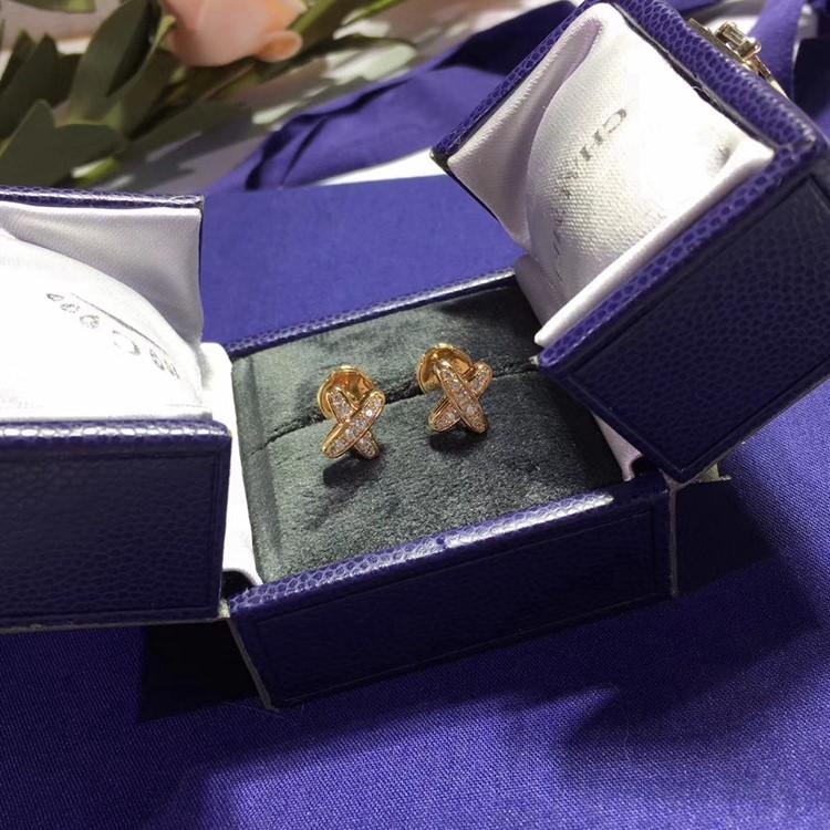 純銀 CHAUMET 尚美巴黎 超模何穗同款X型耳環_3